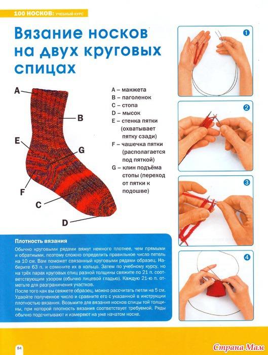 Вязание носков: на круговых