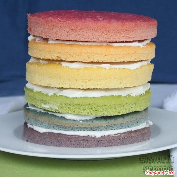 Торт из цветного бисквита
