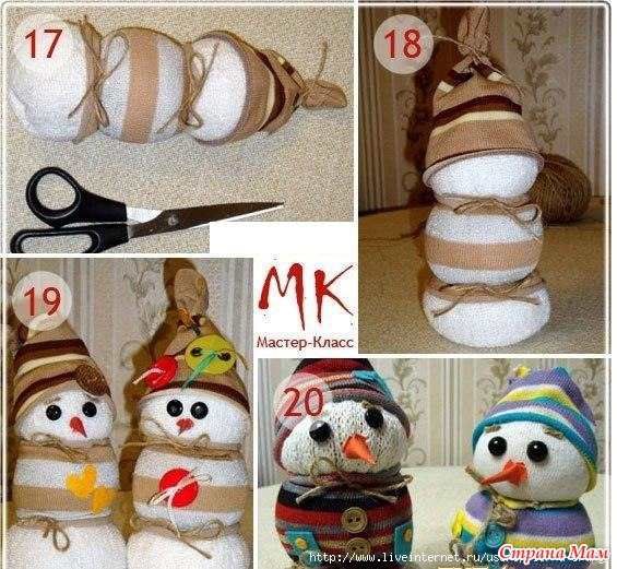 Снеговик из носка своими руками пошаговое