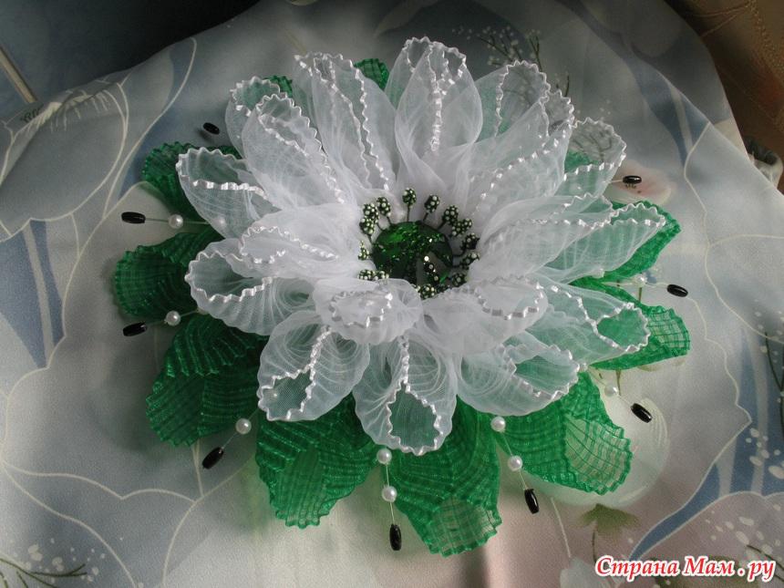 Цветок из бантика своими руками пошаговое фото