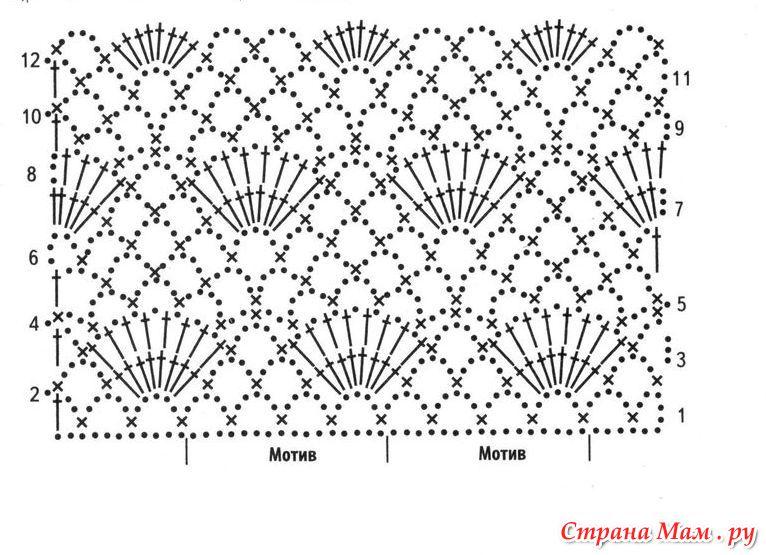 Вязание крючком начинающие палантин схема описание