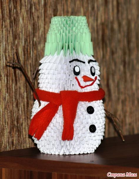 Как сделать из треугольных модулей снеговика