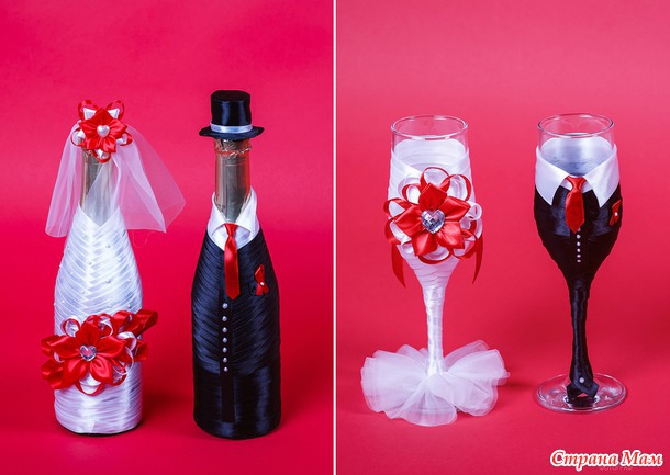 Украсить бутылки шампанского на свадьбу своими руками фото
