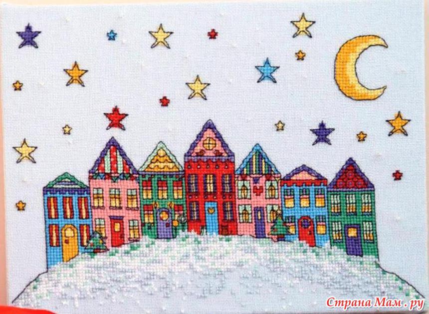 Зимние домики вышивка крестом