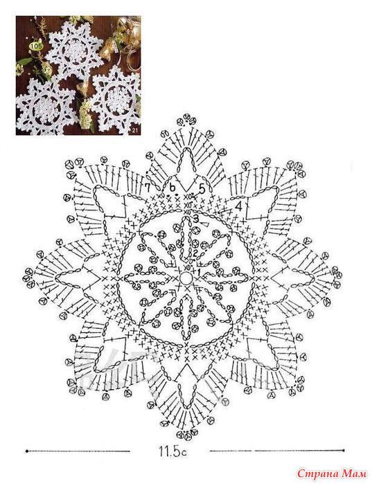 Снежинка вязать схема