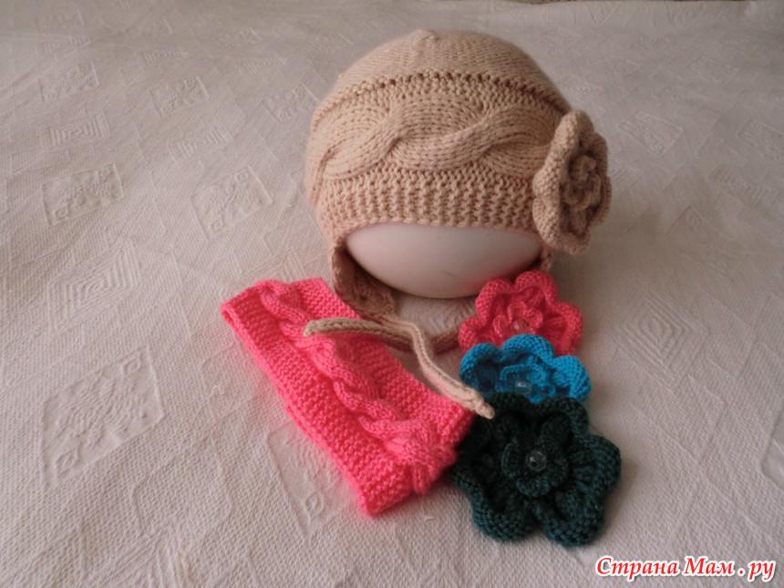 Вязание шапочка с поперечной косой