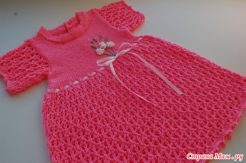 Вязание платьица для малышки спицами 17