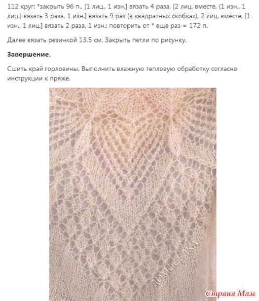 Узоры для вязания из тонкого мохера спицами