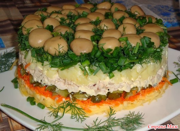 Салат лесная поляна рецепт опятами фото