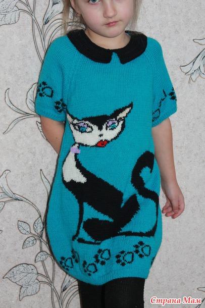 Платье с кошечкой для доченьки