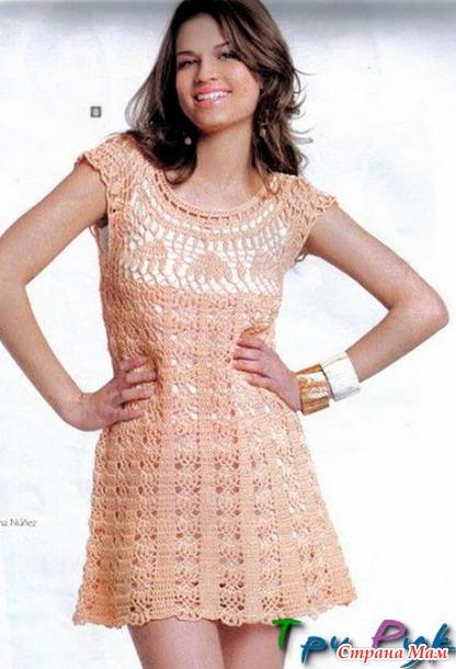 Платье вязаное крючком с кокеткой
