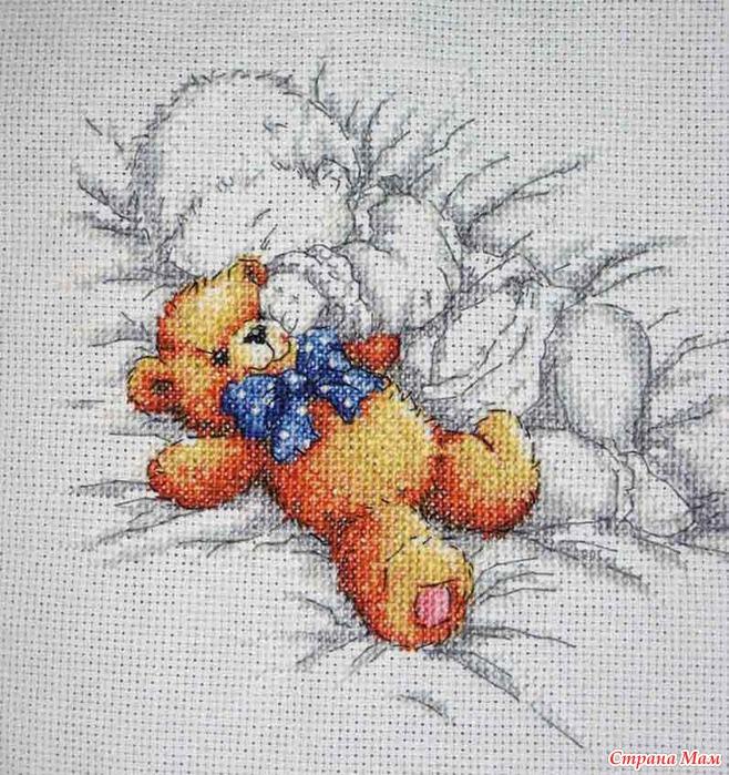 Схема вышивки крестом малыш с мишкой 47