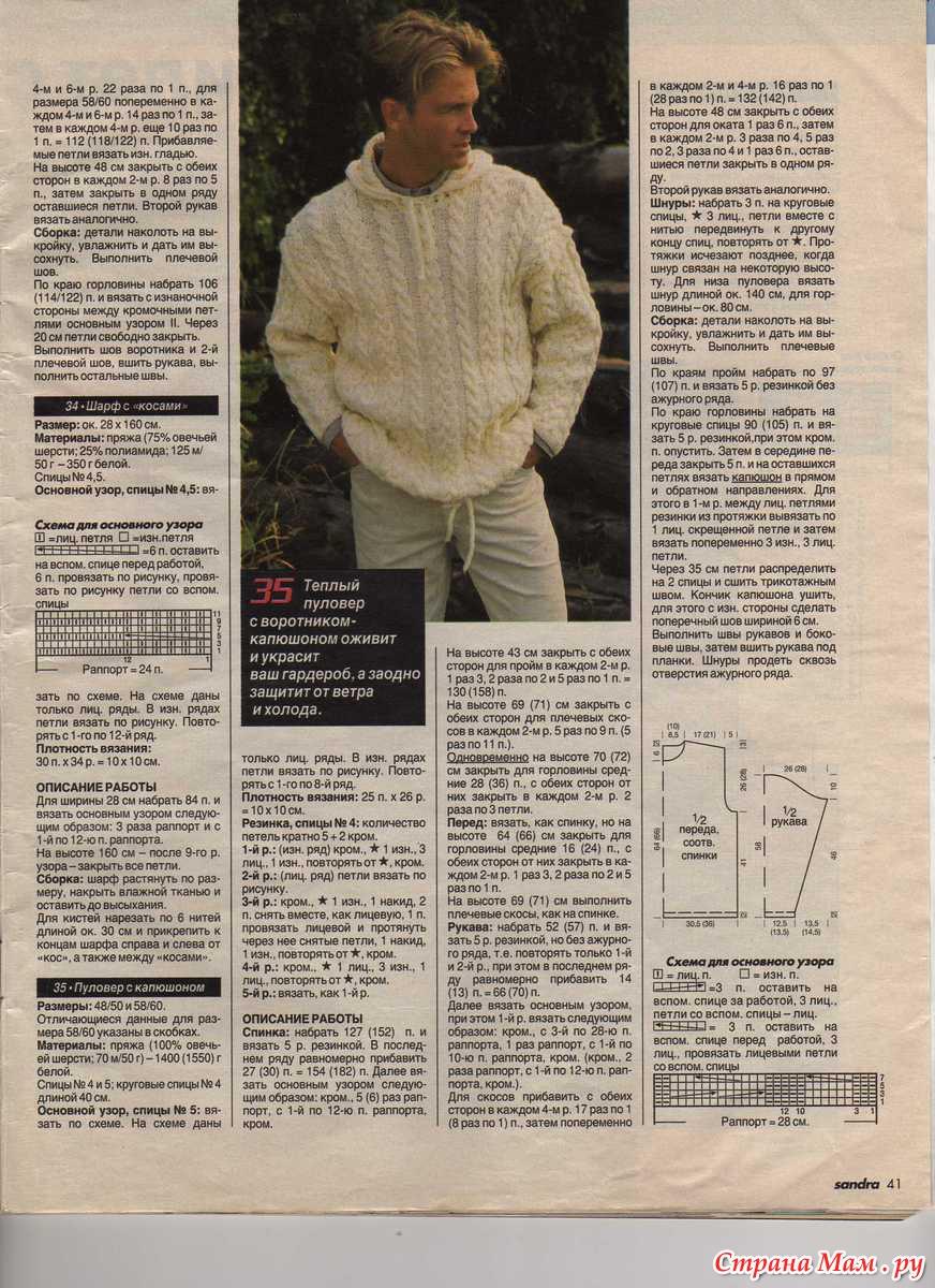 Для мужчин вязание : 25 моделей со схемами, описанием и видео мк для 33