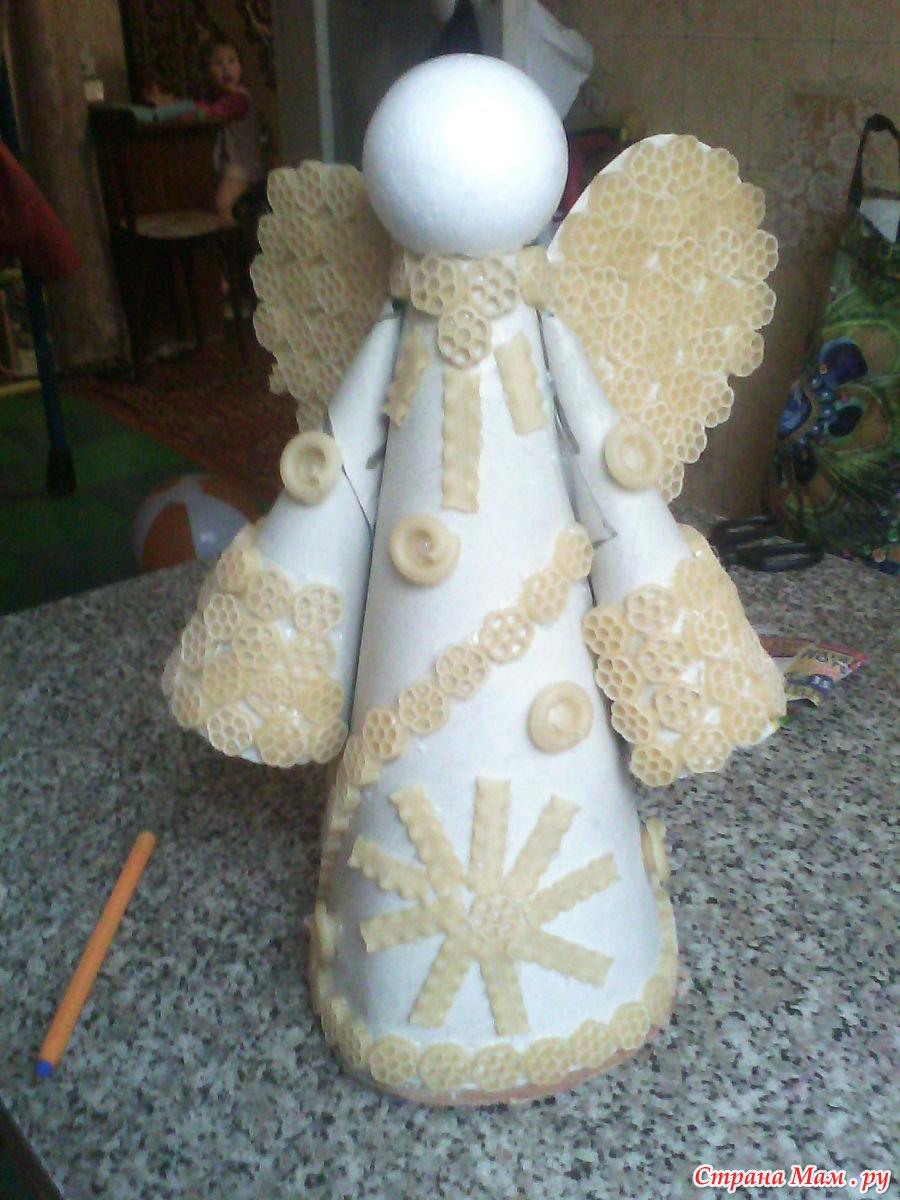 Ангел из макарон своими руками фото