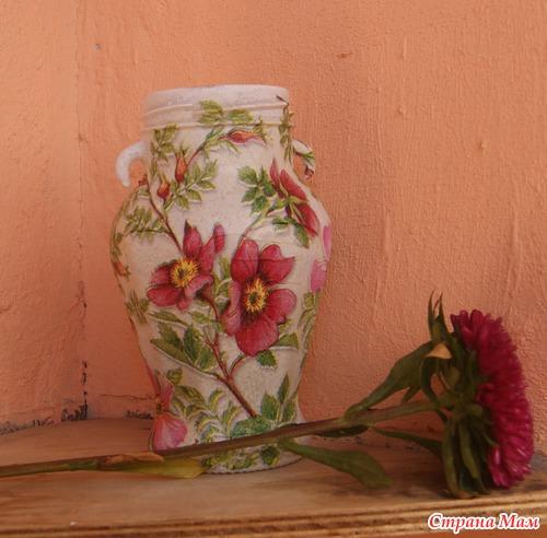 Декупаж вазы пошаговое фото