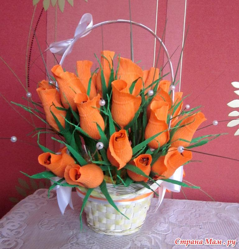 Корзинка цветов из бумаги
