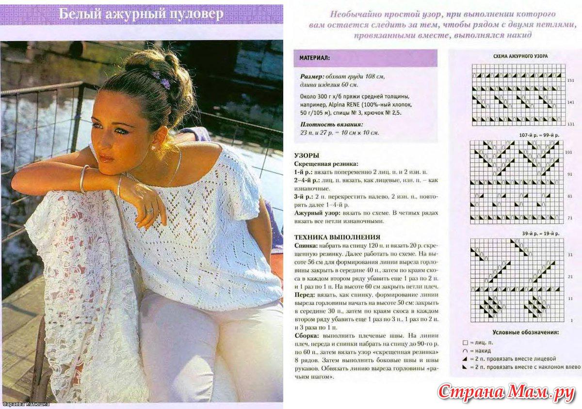 Ажурная летняя кофточка спицами схемы и описание