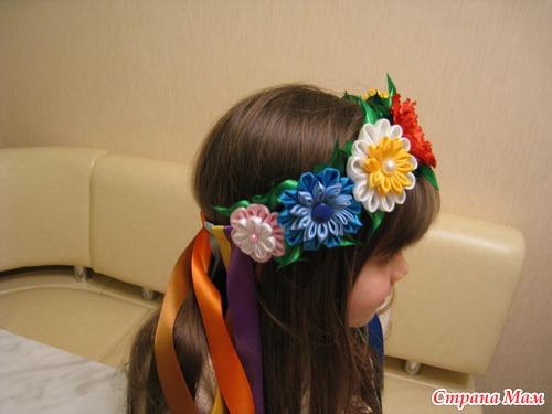 Лента для головы своими руками с цветами 87
