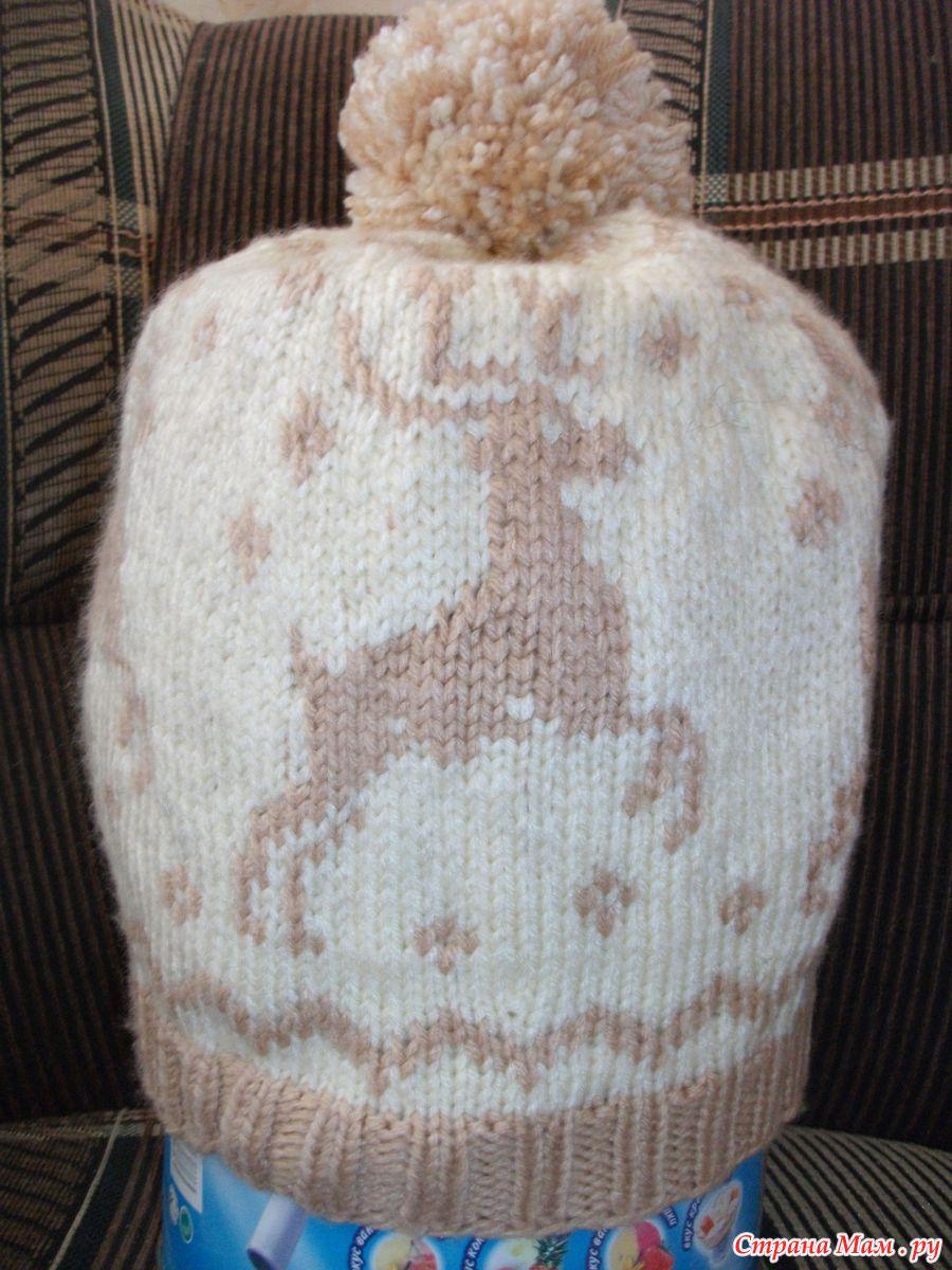 схема вязания красивых оленей на спицах