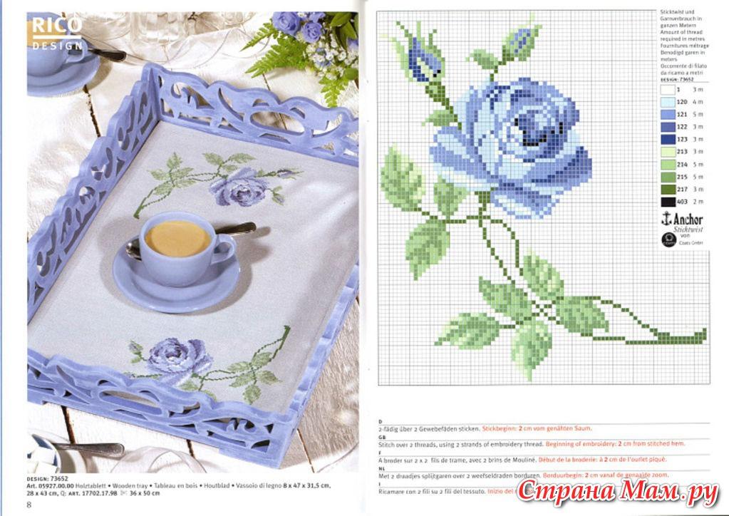 Вышивка роз на салфетке