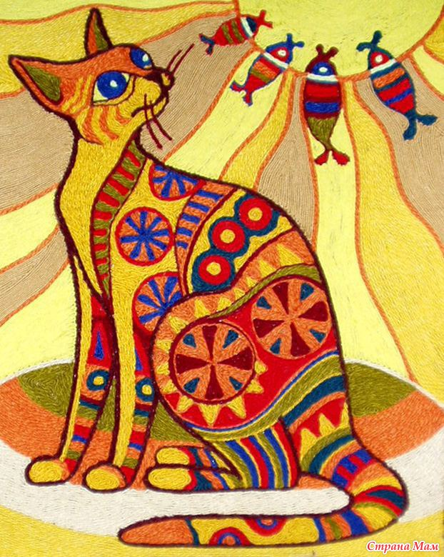 Картина кот своим руками