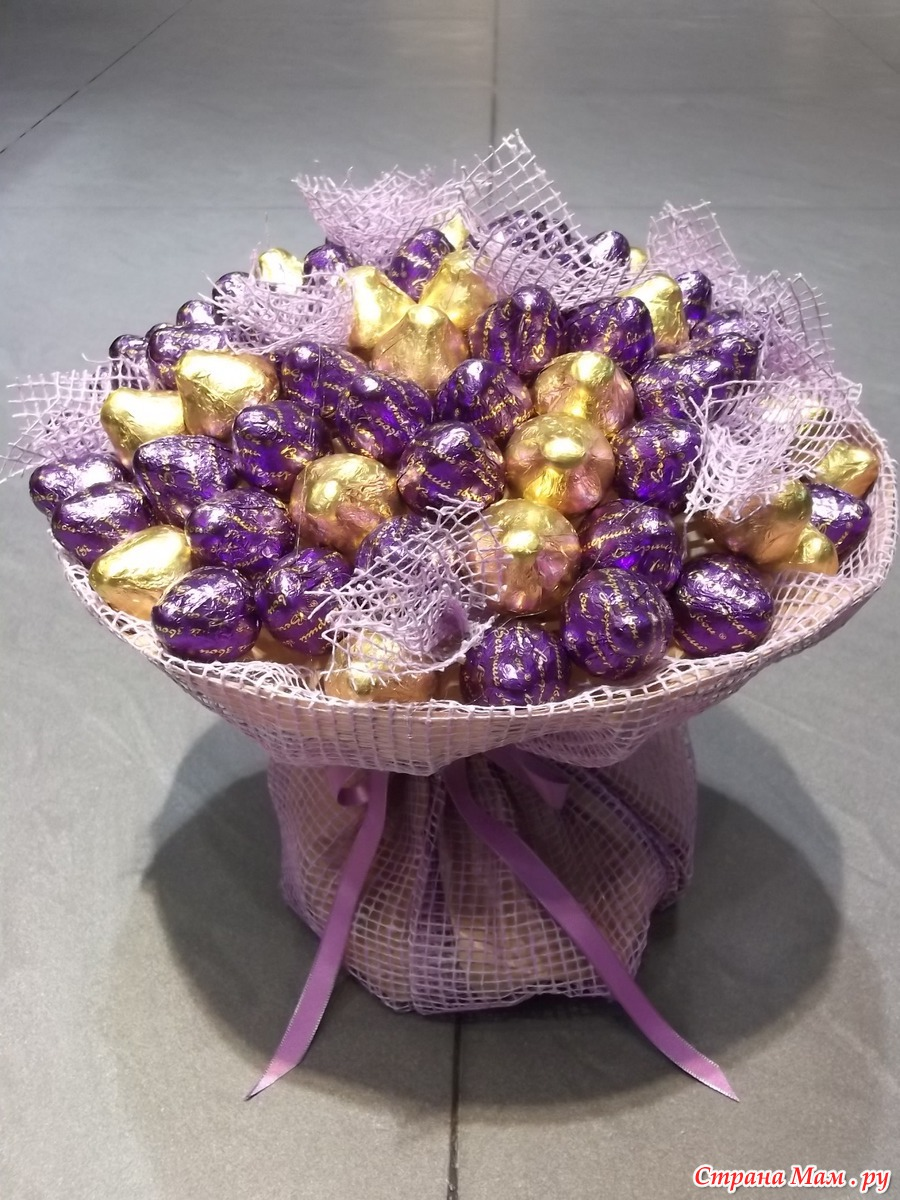 Сладкие букеты из конфет мастер класс