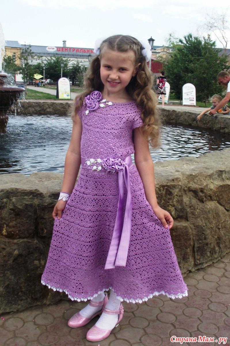 Как сшить вязаное крючком платье