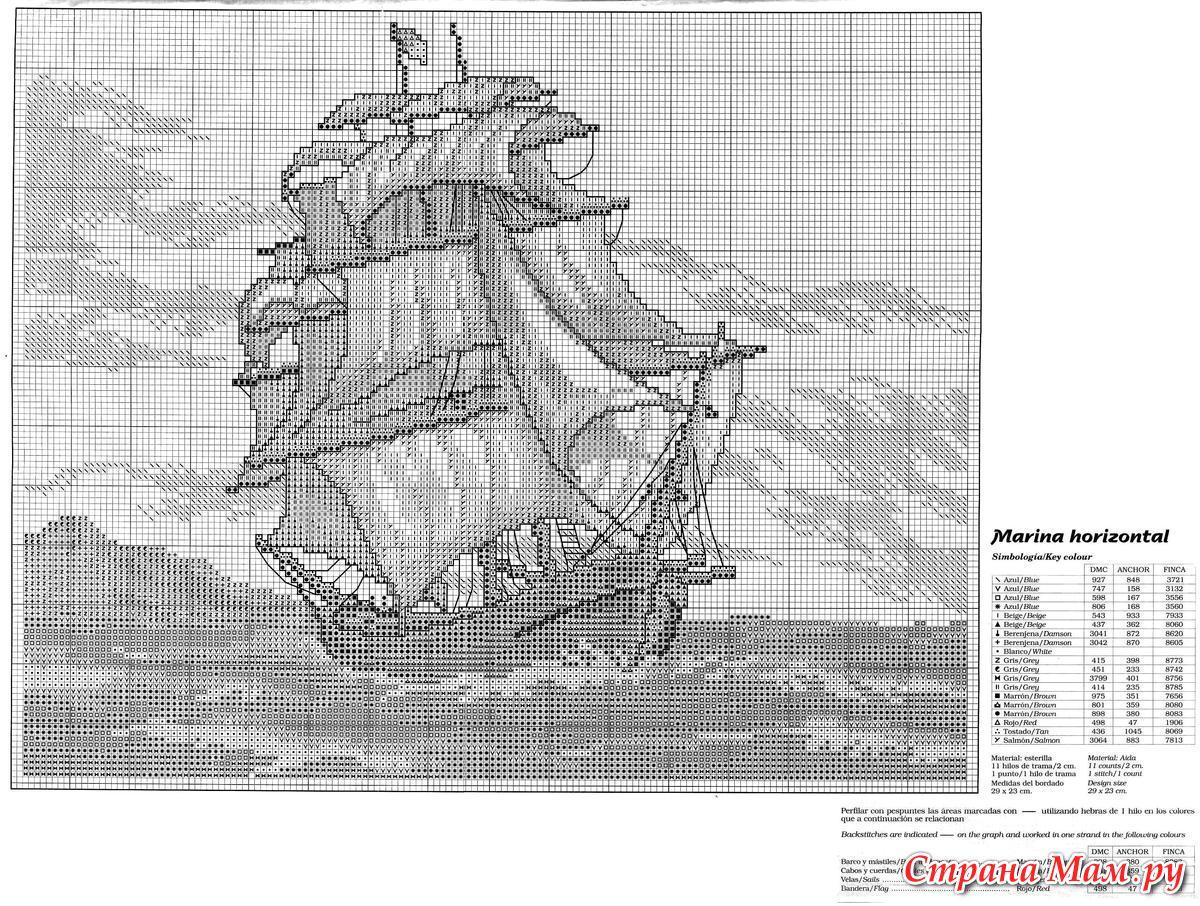 Схема для вышивки крестом монохром корабль