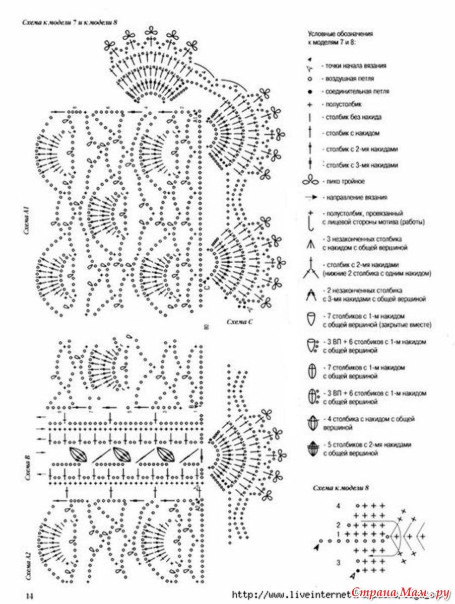 Схемы вязания крючком шарфа и жилетов