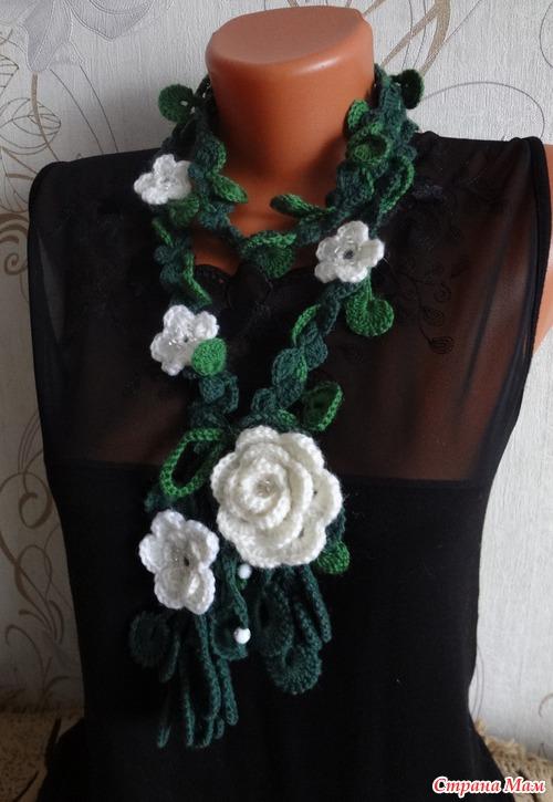 Вязание крючком шарфы цветочные 78