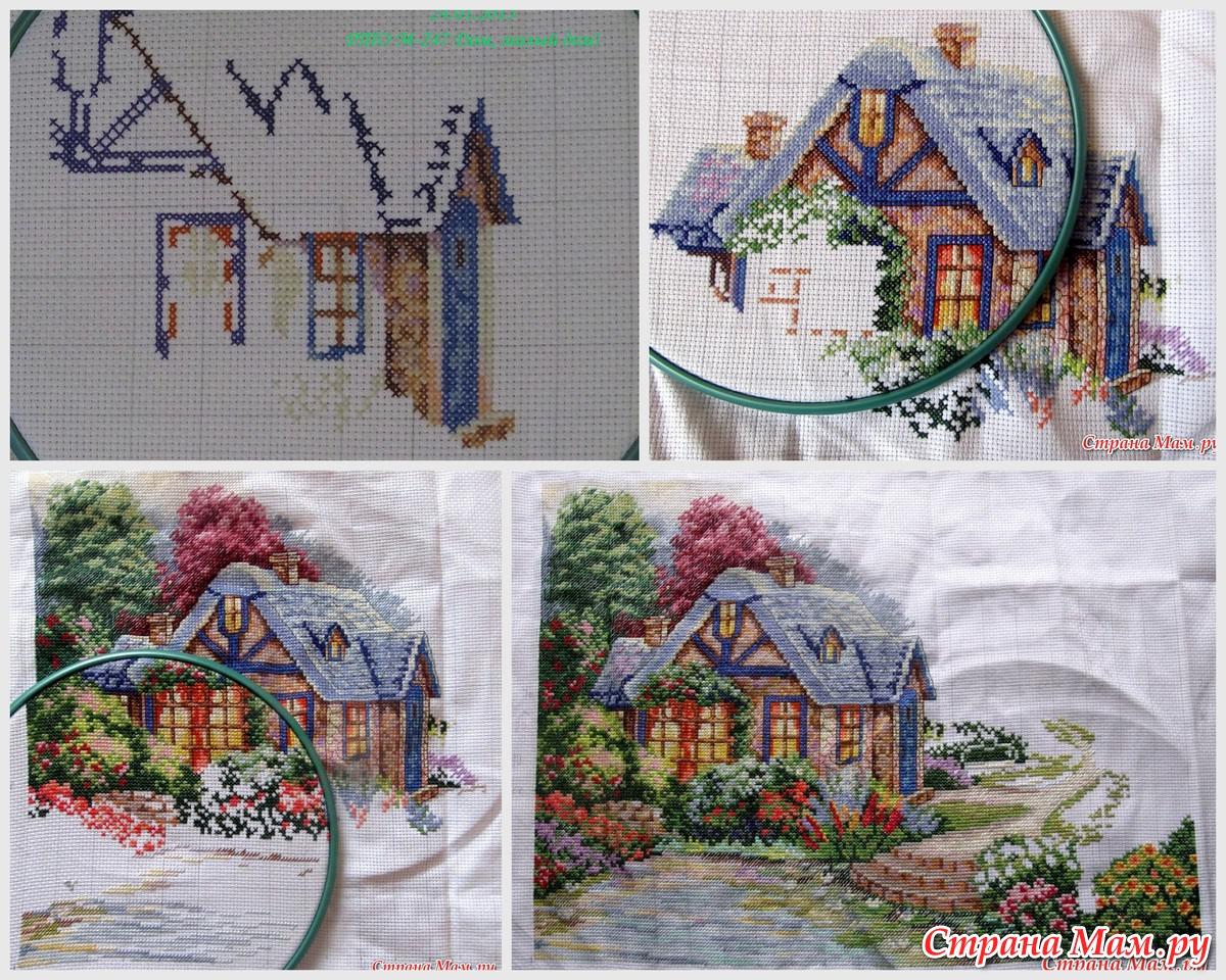 Вышивка домик в разрезе 32