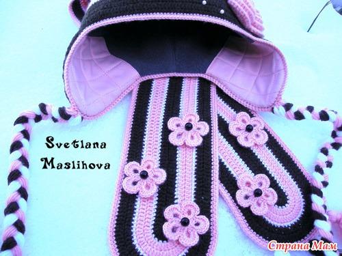 """Комплект """"Цветочки для принцессы"""" и мой МК подкладки в вязаную шапку."""