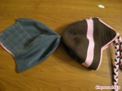МК подкладка в вязаную шапку.