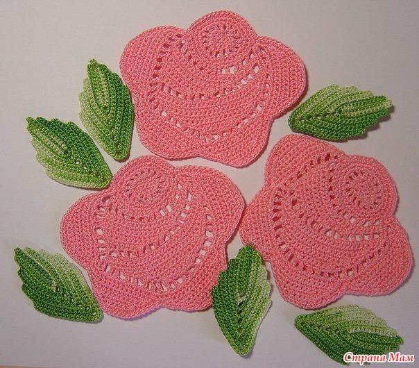 Вязание крючком.схемы роз