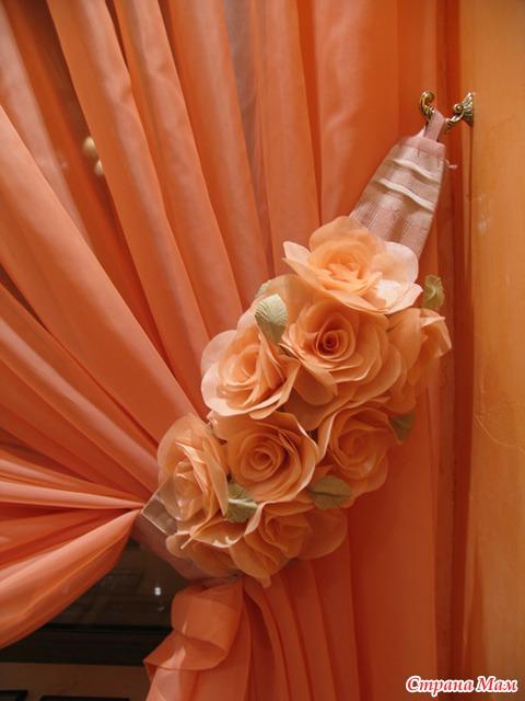Украшение штор своими руками цветы из ткани