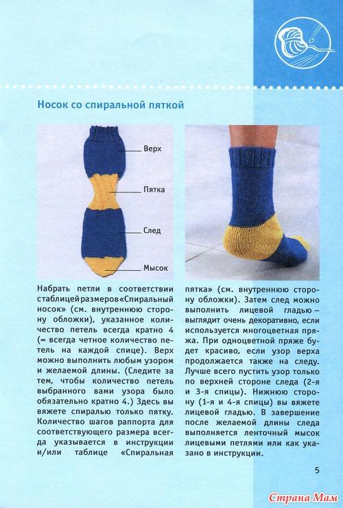 Разные способы вязания пятки носка
