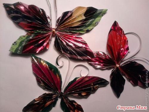 Как сделать из фантиков бабочку