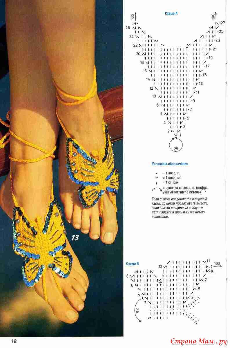 Вязаные украшения на ноги крючком схемы