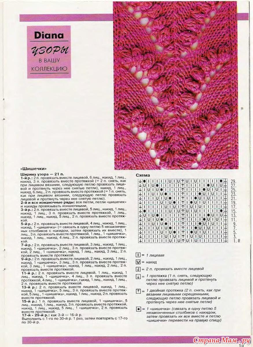 Красивый ажурный узор для вязания спицами Ландыши 94
