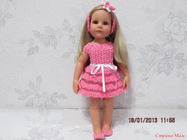 Платье для куклы вязаное своими руками