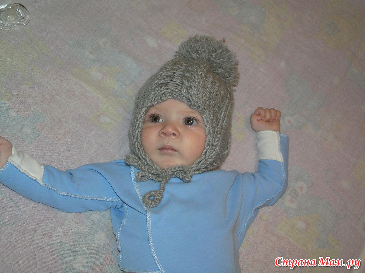 Детская зимняя шапка с ушками Вяжем 39