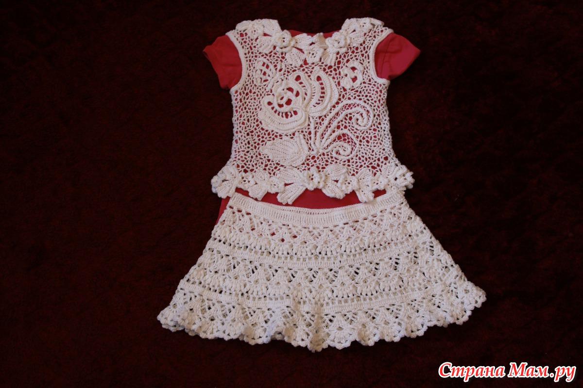 Розовое кружевное платье для девочки крючком - описание, схемы фото