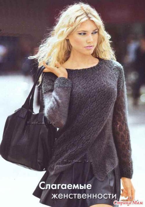 Пуловер с эффектом запаха
