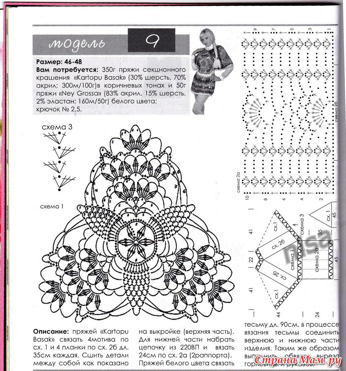 Блузы и туники крючком схемы и описание