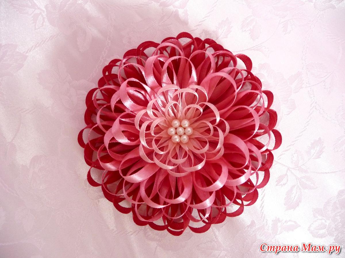 Как сделать цветок из узкой ленты своими руками видео 177