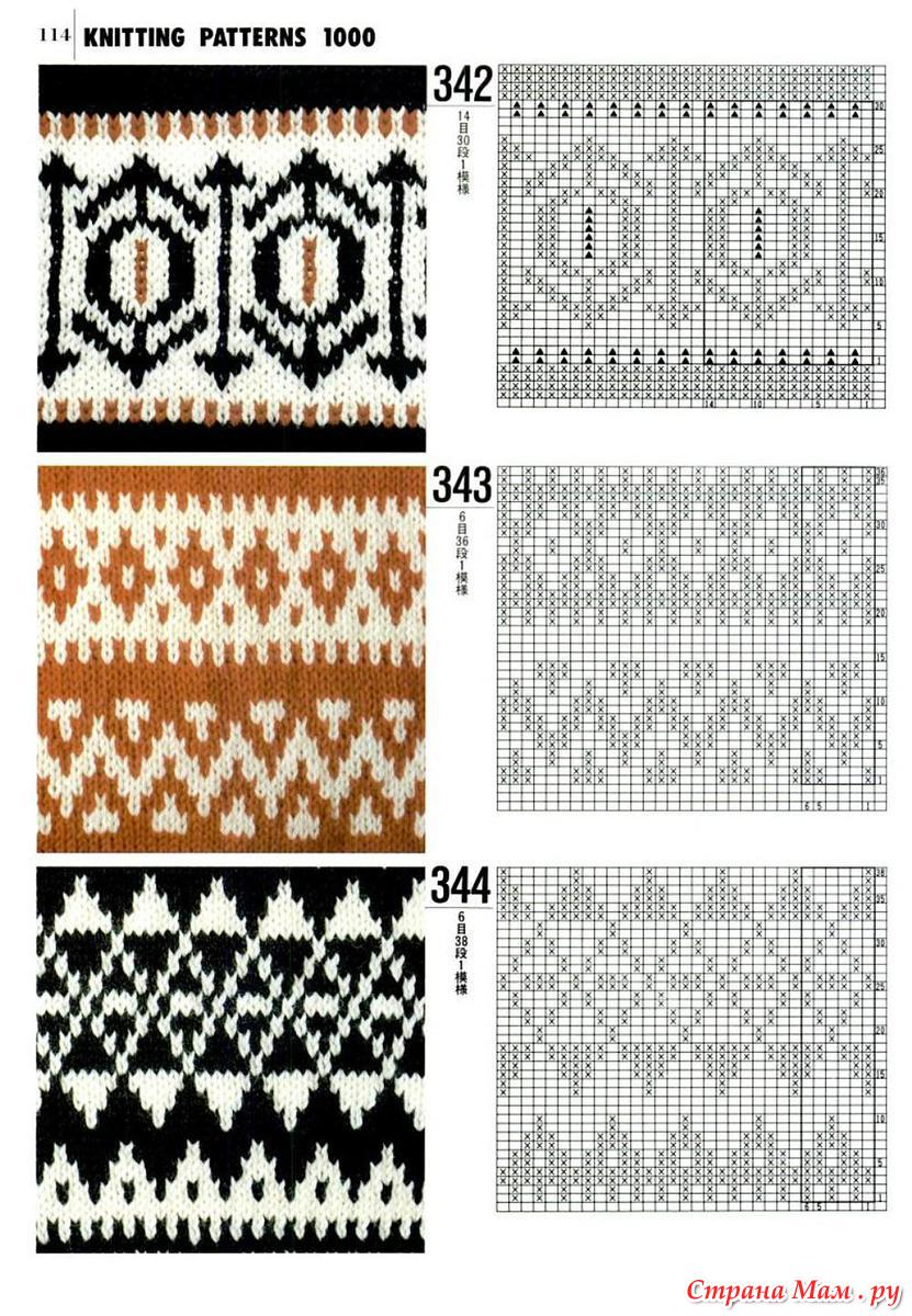 Орнаменты для вязания спицами для варежек спицами