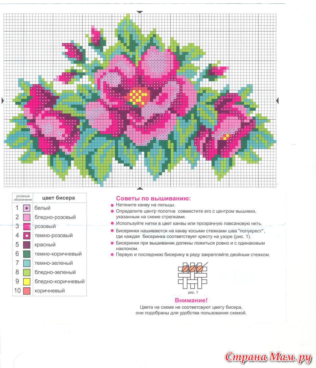 Вышивка из трех цветов схемы цветы