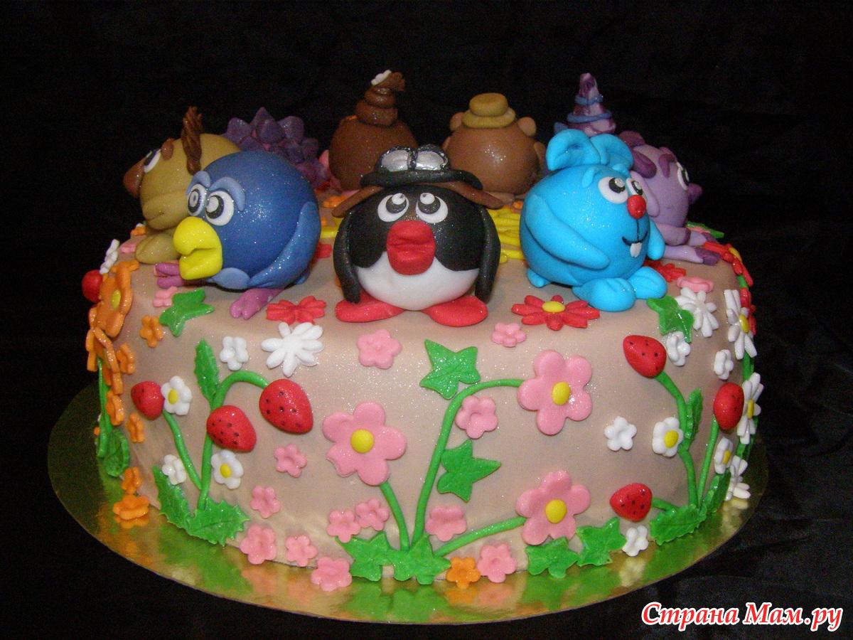 Детский торт со смешариками фото