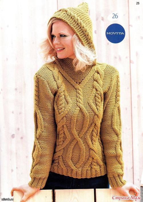 Пуловер с капюшоном спицами.
