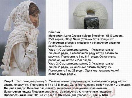 Схемы вязания шапки капор